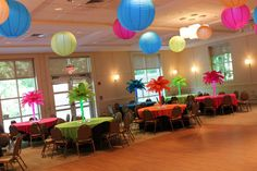 Neon Themed Bat Mitzvah Neon Themed Bat Mitzvah with Feather & Gems Centerpieces & LED Paper Lanterns at Young Israel of New Rochelle