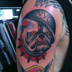 Chris Marchetto as featured on Swallows & Daggers. www.swallowsndaggers.net #tattoo #tattoos #bulldog