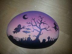 Hand+painted+stone+Halloween+Sillhouette+by+ShePaintsSeaStones,+£8.00