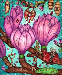 Fairy Miracles by Klara Markova, colored by Blahy Colouring, Adult Coloring, Coloring Books, Coloring Pages, Markova, Favorite Pastime, Johanna Basford, Fairy Houses, Enchanted