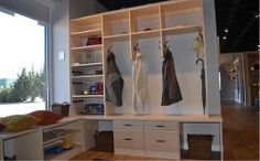 Mudroom Display At The Vermont Custom Closets Showroom In Williston, Vermont .