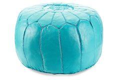 Moroccan Pouf, Turquoise on OneKingsLane.com