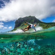 Kiting in the clear waters of the Indian Ocean. ©ohrim/Shutterstock.com #ArrivalGuides #travel #mauritius #kiting #underwater #adventure #picoftheday