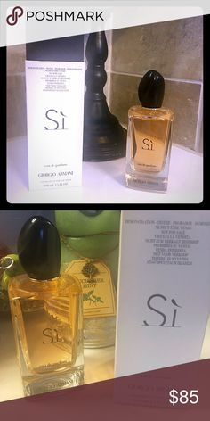 Giorgio Armani Si 3.4 oz A full bottle (I may have used 3 squirts when I tried it) with the original box of Giorgio Armani Si.  I love how his smells but I had just received a full bottle before I was given this one and I don't want it to go bad!! This size bottle will last a long time! Giorgio Armani Other