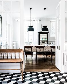 Geometric tiles in a fabulous home in Fontainbleu, France. Decoracion Vintage Chic, Interior And Exterior, Interior Design, French Interior, Kitchen Interior, Interior Decorating, Fontainebleau, Geometric Tiles, Geometric Shapes