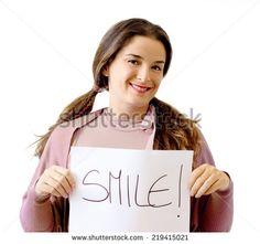 smile concept over white background - stock photo