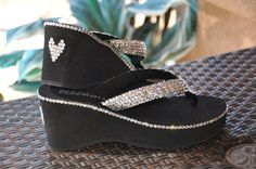 d82582f9d9f5 Las Vegas Diamond Diva s Swarovski Crystal Platform Flips Flops with a  little extra BLING! By Sparkle Steps