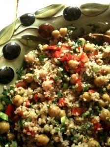 Bulgur, garbanzo bean, tomato and feta salad.  We Loved this.  Amanda