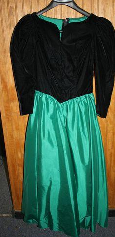 Bridesmaid VINTAGE 1980s Emerald Green Silk Black Velvet Gown Dress Made in USA