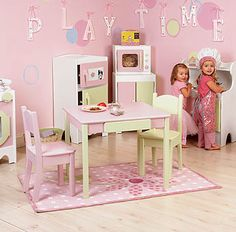KIDS PLAYTIME KITCHEN  They'll enjoy hours of play in this dream come true kitchen play set where everything is just their size. Each piece is handcrafted from durable wood and wood composites and finished in water based acrylic pastels.