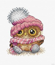 Modern Cross Stitch Embroidery Kit Cute Little Owl Russian Manufacturer Gift Idea Cross Stitch Owl, Cross Stitch Cards, Beaded Cross Stitch, Cross Stitch Animals, Modern Cross Stitch, Cross Stitch Kits, Cross Stitch Designs, Cross Stitching, Cross Stitch Embroidery