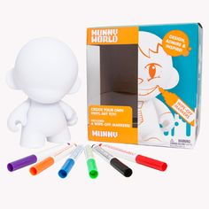 Kidrobot Reusable MUNNY White with Wipe-Off Markers 7-Inch