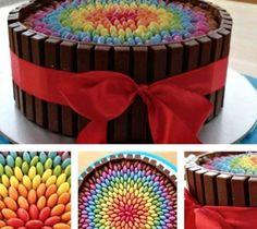 smarties kit kat cake