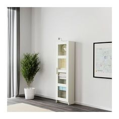 BRIMNES Højskab med vitrinelåge - hvid - IKEA