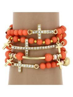 5-Strand Peach and Goldtone Beaded Cross Stretch Bracelet #AB6520-GP2 - Wholesale Accessory Market