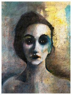 Portræt af en kvinde Blyant og akvarel - 70 x100 centimeter