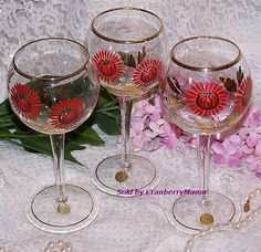 SALE 3 Romania Red Wine Glass Goblet Handpainted by CranberryManor