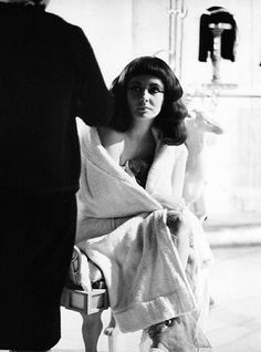 Elizabeth Taylor on the set of Cleopatra, 1963