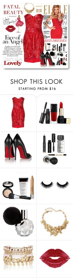 """""""Lady in Red"""" by bmaroso ❤ liked on Polyvore featuring Zuhair Murad, Guerlain, Christian Louboutin, Bobbi Brown Cosmetics, Oscar de la Renta, River Island, Luv Aj, LIST, women's clothing and women"""