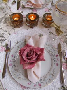 Table I set at home for a romantic dinner with my hubby Steve.
