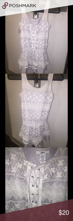 💕Pretty All Lace Bar ||| Romper💕 Adorable all white lace romper with a zip closure on the side. Grey slip lining underneath the lace. Lace up front, and in excellent condition. 70% cotton, 30% nylon. 100% polyester contrast. Bar III Other