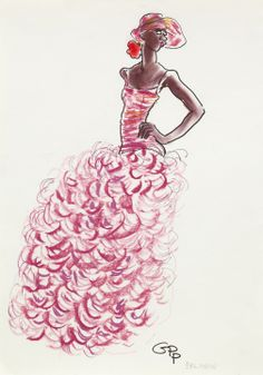 Gladys Perint Palmer - Oscar de la Renta for Balmain HC S/S 2001 - Fashion Illustration Gallery
