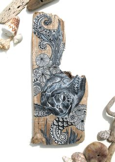 Driftwood Sea Turtle Painting Painted Driftwood Wall by GeoJoyful