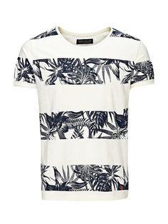 PREMIUM by JACK & JONES - T-Shirt von PREMIUM - Slim fit - Rundhalsausschnitt - Aufschläge an den Bündchen - Komplett bedruckt - Markenlogo-Patch am Saum 100% Baumwolle...