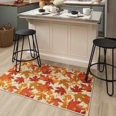 Orange, red, yellow and gold autumn leaves scatter across the stunning harvest hued nature inspired canvas of the Fall Leaves Mat in Multicolor. #fall #falldecor #doormat #pumpkinspice #kitchendecor #coffee #lowes #homedecor #pumpkins #autumn #homedecor #arearugs #mohawkhome #mohawk #plaid Fall Home Decor, Thanksgiving Kitchen, Autumn Home, Kitchen Decor, Porch Decorating, Home Decor, Rugs, Autumn Leaves, Mohawk Home
