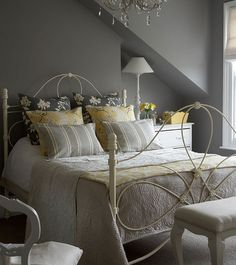 4-grey-bedroom by Sally Denning, via Flickr - I love the shades of grey and the yellow and white!