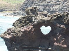 Heart shaped rock formation at Nakalele Blow Hole in West Maui.