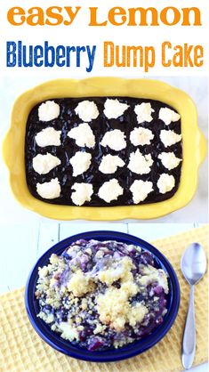 Lemon Blueberry Cheesecake Dump Cake!  This flavorful dessert is bursting with the flavors of summer, and is the perfect weekend treat!  Be sure to give it a try! Lemon Blueberry Dump Cake Recipe, Lemon Blueberry Cheesecake, Blueberry Dump Cakes, Blueberry Desserts, Lemon Desserts, Homemade Desserts, Easy Desserts, Spice Dump Cake Recipe, Dump Cake Recipes