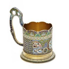 Gilded silver and shaded antique Russian enamel tea glass holder. By the 11th Artel. Moscow, ca. 1910
