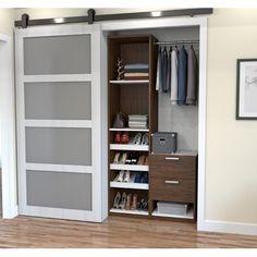 Cielo by Bestar Deluxe 39 Reach-In Closet in Oak Barrel and White Corner Closet Organizer, Closet Storage, Closet Organization, Closet Drawers, Towel Storage, Front Closet, Reach In Closet, Closet Doors, Closet Space
