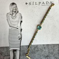 Silpada Bracelet Silpada, Aqua Gem Bracelet. Swarovski crystals, Brass. Silpada Jewelry Bracelets