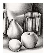 Still life lesson with good slide show demonstrating the different stages of value/color application