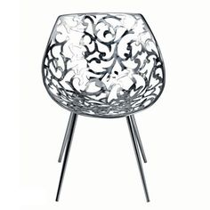 For Sale on - 'Miss Lacy' is an iconic chair, designed by Philippe Starck and manufactured by Driade, with stainless steel casting flower patterned shell and tapered