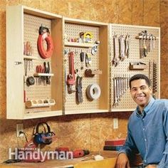 Need to get your garage or workbench area cleaned this weekend?  This is the perfect DIY cabinet to hold tools and typical garage clutter plus it folds together to help you save space. These easy, step-by-step instructions will have you crossing off that to-do by the end of the weekend!