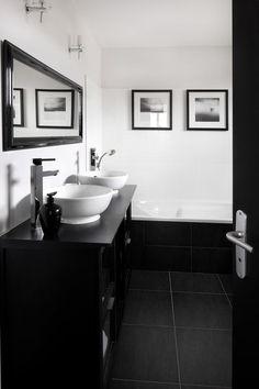 en noir et blanc la salle de bains dessine un espace graphique et trs contemporain