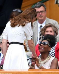 Catherine, Duchess of Cambridge shakes hands with Floella Benjaminas she attends day 2 of the Wimbledon Tennis Championships at the All England Lawn Tennis and Croquet Club on July 2019 in. Get premium, high resolution news photos at Getty Images Duchess Kate, Duke And Duchess, Duchess Of Cambridge, Wimbledon Tennis, Kate Middleton Wimbledon, Pippa Middleton, Katie Boulter, Kate Middleton Pictures, Queen Elizabeth