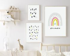 Nursery wall decor from Sunny and Pretty. Add your little one's name to this set of 3 personalized rainbow prints and create a sweet baby decor. Nursery art and nursery prints to complete your nursery decor project. Our nursery wall art is made with love and is designed to reflect your nursery wall decor style. 🖤 Get excited about decorating for your little one! #sunnyandpretty Nursery Drawings, Nursery Artwork, Nursery Paintings, Nursery Wall Decor, Nursery Prints, Baby Decor, Wall Art Decor, Wall Art Prints, Nursery Book