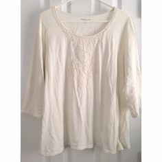SPRING SALE!!  - Cream Top with Lace/Beads Adorable & comfy cream top with lace/beading detail at neckline and 3/4 length sleeves. Such a great addition to your closet! NO Trades, NO PayPal BUNDLE AND SAVE!!! Coldwater Creek Tops Blouses
