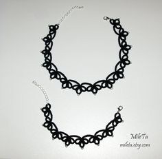 Tatted lace jewelry set Tatted necklace choker Tatted by MileTa