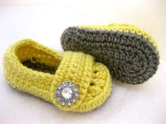 Baby Girl Shoes / Booties - Grey & Yellow Jewel - YOUR choice size - (newborn - 12 months) - photo prop - children on Etsy, $24.00