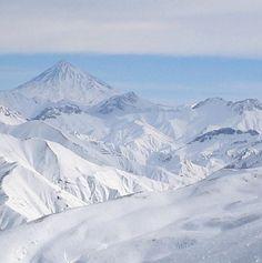 View of Mount Damavand, Amol as seen from the Dizin ski resort in Iran.  by Fabienkhan
