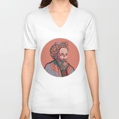 American Apparel v neck shirt with portrait of of Omar Khayyam, Persian mathematician, astronomer, philosopher, and poet, portrait in red and blue, men's and women's v-neck shirt.