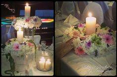#weddingdecoration #headtable #tablearrangements #wedding #romantic #candles #flowerarrangements #burlap #wreath