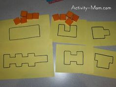 The Activity Mom: Squares in a Shape - I think I want to do something similar, but with recognizable pictures and large shapes Math Classroom, Kindergarten Math, Teaching Math, Teaching Ideas, Math Games, Toddler Activities, Preschool Activities, Kid Activites, Spring Activities