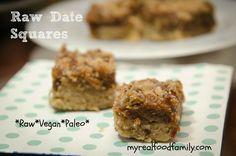 No sugar added, raw, vegan, gluten free, paleo date squares