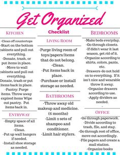 checklist for the whole house to Get Organized.A checklist for the whole house to Get Organized.